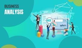 经营分析与字符的概念横幅 能为网横幅使用, 向量例证