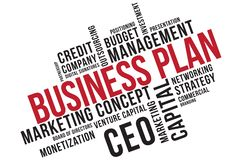 经营计划词云彩拼贴画,企业概念背景 风险投资 库存例证