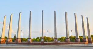 经验丰富的纪念桥梁在法戈, ND 免版税库存照片