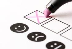 经验调查、雇员反馈查询表或者企业民意测验概念 免版税图库摄影