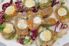 结冻与菜、鸡蛋和肉 免版税图库摄影