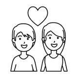 结合充满心脏爱的恋人 库存例证