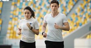 结合在体育场的慢跑者 股票录像