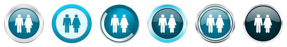结合在6个选择的银色金属镀铬物边界象,被设置在白色背景隔绝的网蓝色圆的按钮 皇族释放例证