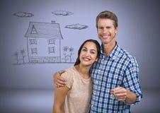结合对负关键与在小插图前面的房子图画 库存图片