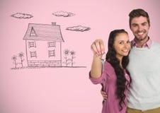 结合对负关键与在小插图前面的房子图画 库存照片