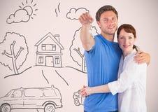 结合对负关键与房子在小插图前面的家图画 免版税库存照片