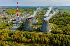 结合热能和动能工厂 秋明州 俄国 免版税库存照片