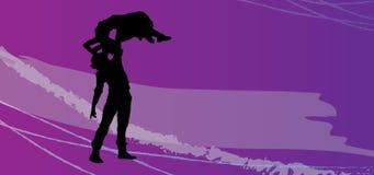 结合爱,亲吻和跳舞在情人节,性感的图片,色情传染媒介剪影 库存例证