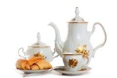 结块咖啡杯罐茶碟 免版税库存图片
