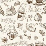 结块咖啡latte无缝模式的饼 免版税库存图片