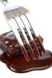 结块巧克力叉子二 库存图片