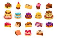 结块铺石、甜dessetrts、被烘烤的蛋糕和杯形蛋糕由奶油、饼干、巧克力和莓果传染媒介例证做成 皇族释放例证
