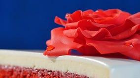 结块,一与红色玫瑰的层数白色和棕色巧克力蛋糕在上面,宏指令 用可食装饰的被切的巧克力蛋糕 免版税库存照片