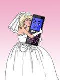 结婚对移动电话(白肤金发的fem。) 免版税库存图片