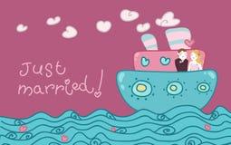 结婚的小船爱 免版税库存照片