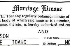 结婚证书婚礼的证明文书工作 库存图片