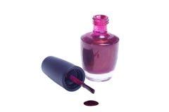 结束小瓶的指甲油红色 免版税库存照片