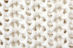 结束白色的被编织的毛线衣纹理 免版税库存图片