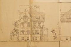 结构上图画房子 免版税库存照片