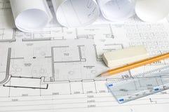结构上图纸大厦办公室 免版税库存照片