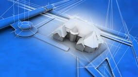 结构上图纸房子 向量例证