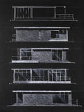 结构上图纸现代色的房子 库存图片