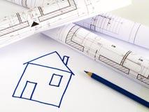 结构上房子计划草图 免版税库存照片