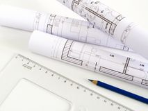 结构上房子计划草图 免版税库存图片