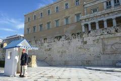 结构体正方形的在希腊议会,雅典,希腊战士 库存图片