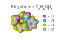 结构化学式和番木鳖碱,一棵高度毒性,无色,苦涩,水晶植物分子模型  库存例证