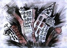 结构城市圆顶图画 图库摄影
