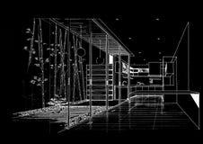 结构建筑内部横向sketc 图库摄影