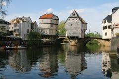 结构美丽的桥梁德国人房子 免版税图库摄影