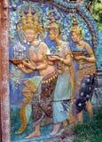 结构高棉被绘的penh phnom 库存图片