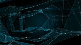 结节幻想摘要技术 与移动的线、小点和三角的抽象几何背景 科学 库存例证