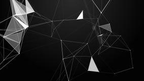 结节幻想摘要技术 与移动的线、小点和三角的抽象几何背景 皇族释放例证