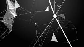 结节幻想摘要技术 与移动的线、小点和三角的抽象几何背景 库存例证