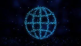 结节网络的动画从互联网标志的在与流动的五颜六色的背景结节微粒 互联网标志 股票视频