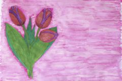 绘与紫色边界的水彩三红色郁金香 库存照片