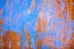 绘与蓝色油漆木板 免版税图库摄影