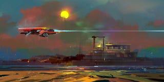 绘了与月亮和太空飞船的废墟的一个意想不到的风景 图库摄影