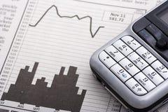 绘制在电话的移动电话图表 免版税库存图片