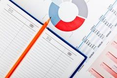 绘制日志文件财务铅笔图表 免版税库存照片