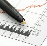 绘制笔价格股票图表 免版税库存图片