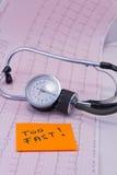 绘制ecg位于的医疗听诊器也是 免版税库存图片