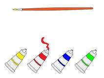 绘图工具水彩黄色红色蓝绿色 库存例证
