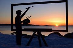 绘在格雷特岛的完善的日出,新罕布什尔 库存图片