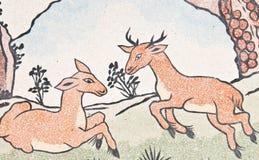 绘寺庙墙壁的中国deers 免版税图库摄影