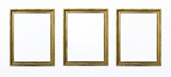 绘或图片的三个金长方形框架在白色背景 查出 添加您的文本 免版税库存图片